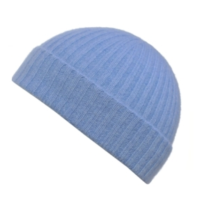 100% cashmere ribbed turn up beanie in blue