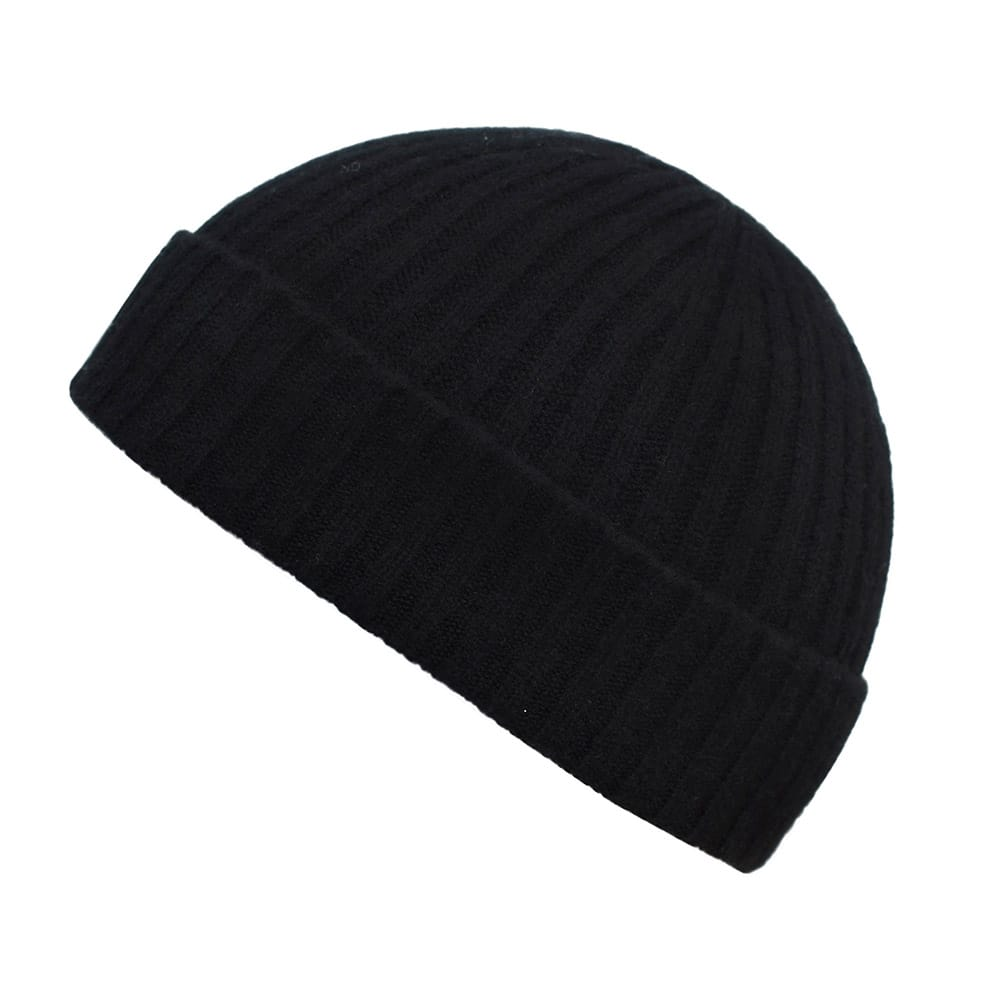 100% cashmere ribbed turn up beanie in black