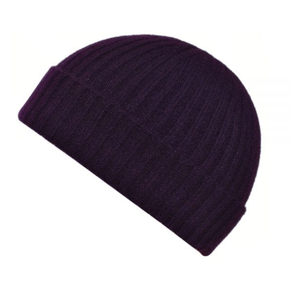100% cashmere ribbed turn up beanie in blackcurrent