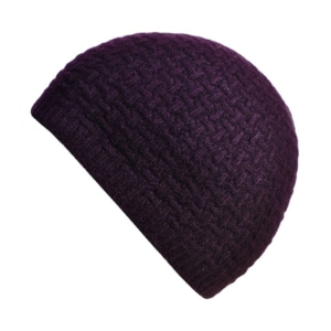 100% cashmere purl stitch beanie in blackcurrent