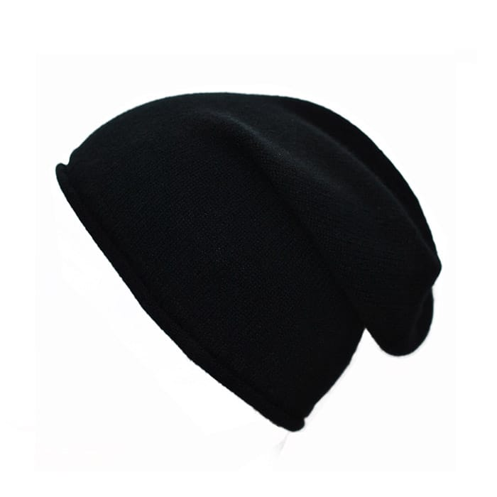 100% cashmere rolled edge slouch beanie in black
