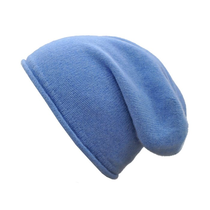 100% cashmere rolled edge slouch beanie in blue