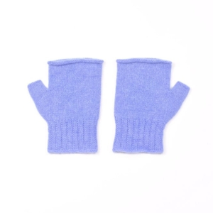 100% cashmere fingerless mittens in blue