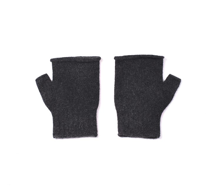 100% cashmere fingerless mittens in charcoal