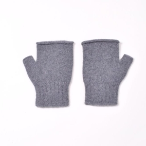 100% cashmere fingerless mittens in grey