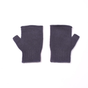 100% cashmere fingerless mittens in grape