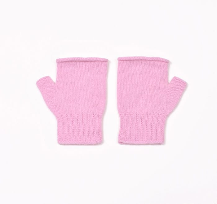 100% cashmere fingerless mittens in pink