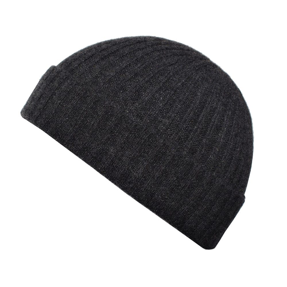 100% cashmere ribbed turn up beanie in charcoal