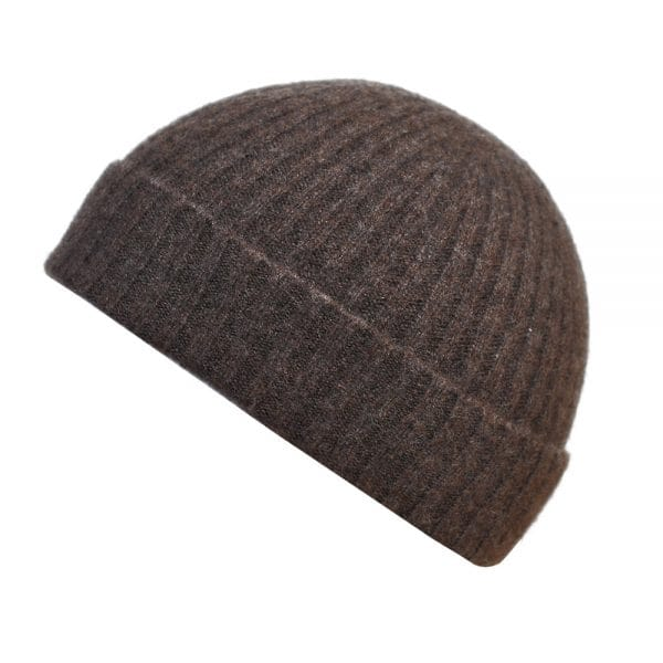 100% cashmere ribbed turn up beanie in dark brown