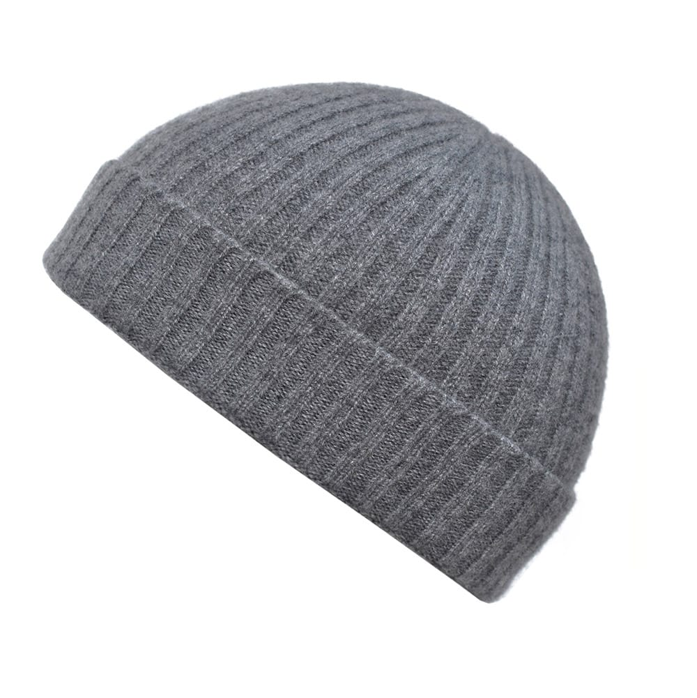 100% cashmere ribbed turn up beanie in grey