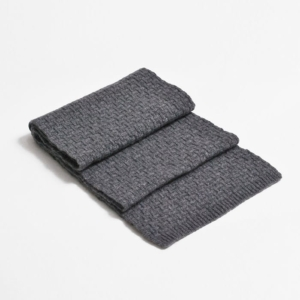 100% cashmere purl stitch scarf in Grey