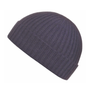 100% cashmere ribbed turn up beanie in light grape