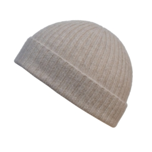 100% cashmere ribbed turn up beanie in light stone