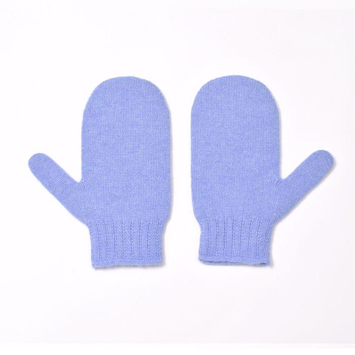 100% cashmere mittens in blue