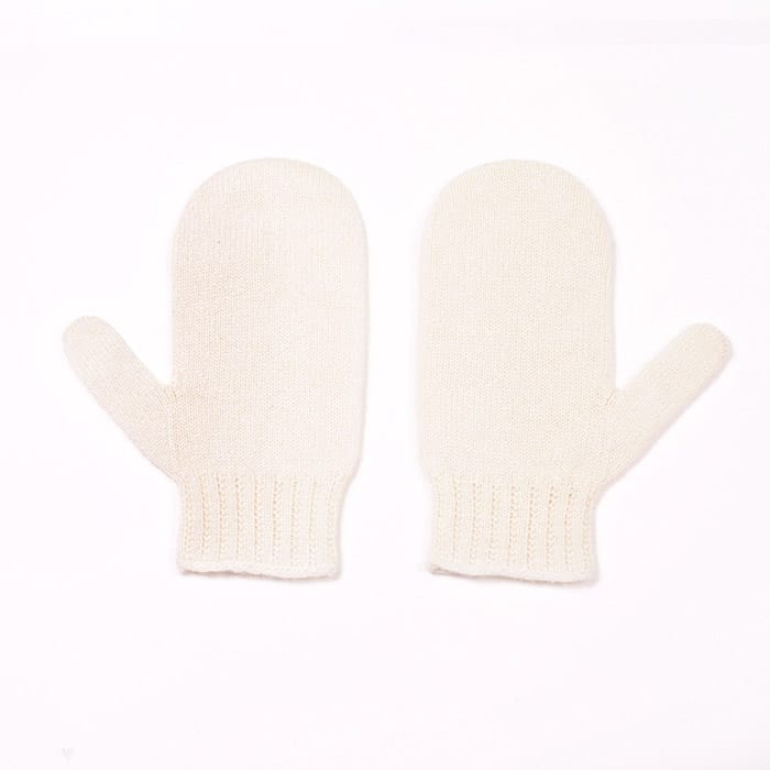 100% cashmere mittens in cream