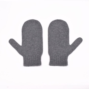 100% cashmere mittens in dark grey