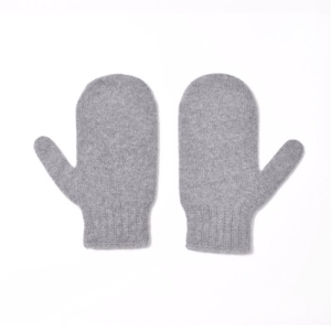 100% cashmere mittens in light grey