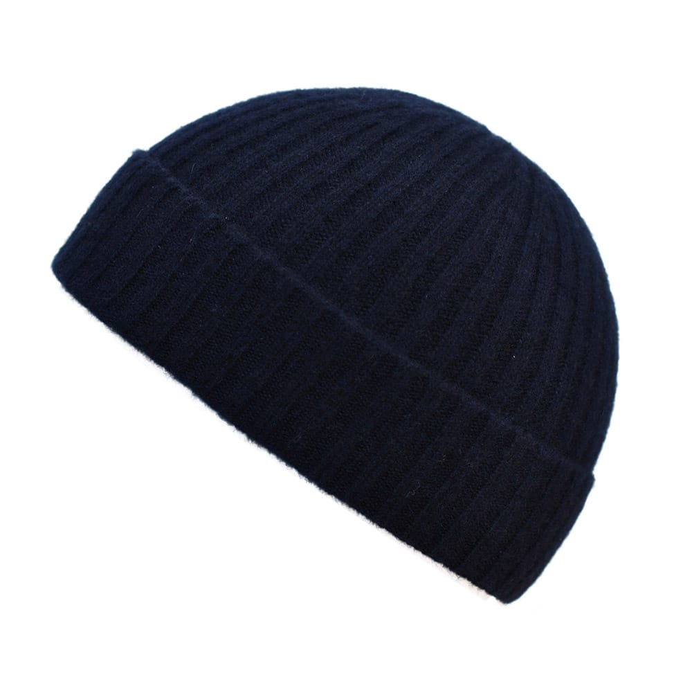100% cashmere ribbed turn up beanie in navy