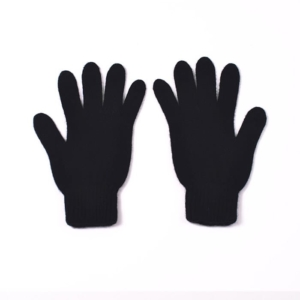 100% cashmere full finger gloves in black