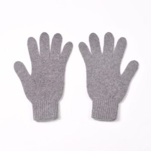100% cashmere full finger gloves in light grey