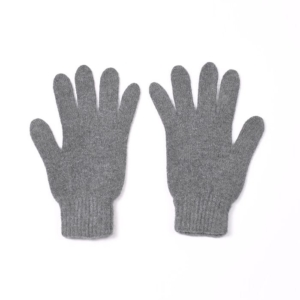 100% cashmere full finger gloves in dark grey