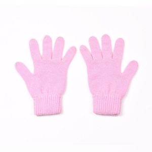 100% cashmere full finger gloves in pink