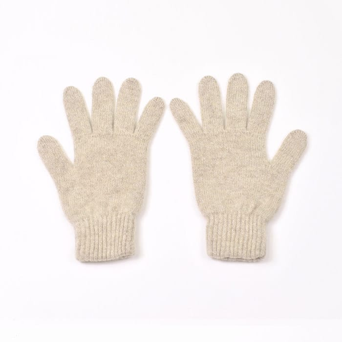 100% cashmere full finger gloves in stone