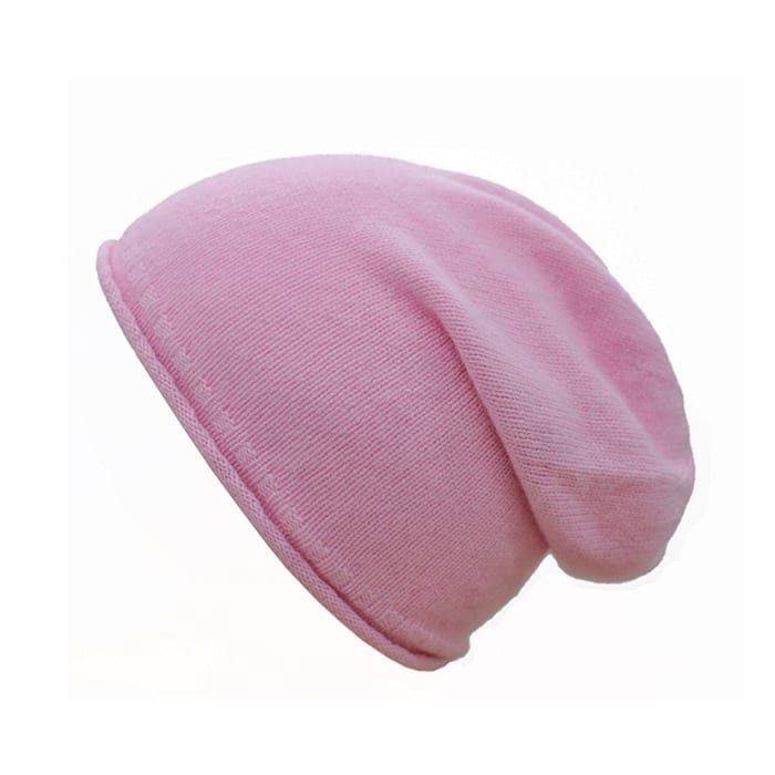 100% cashmere rolled edge slouch beanie in pink