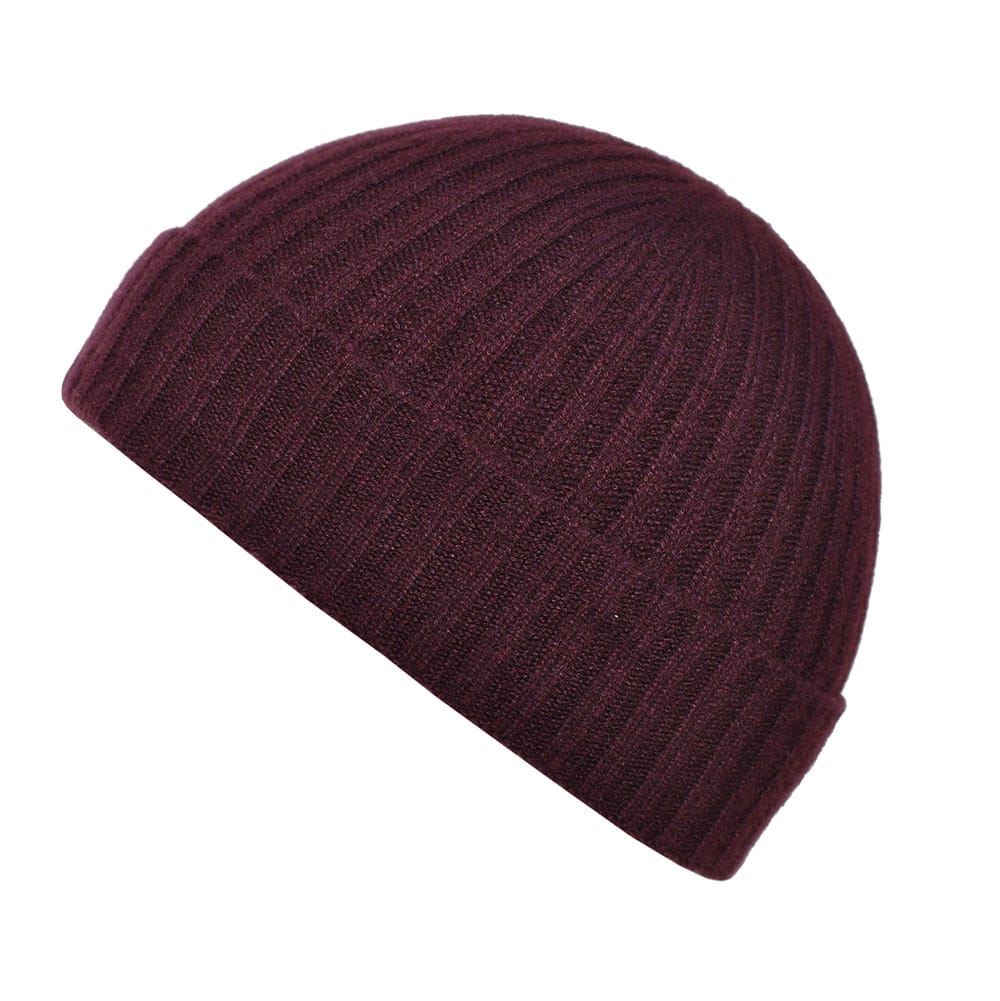 100% cashmere ribbed turn up beanie in plum
