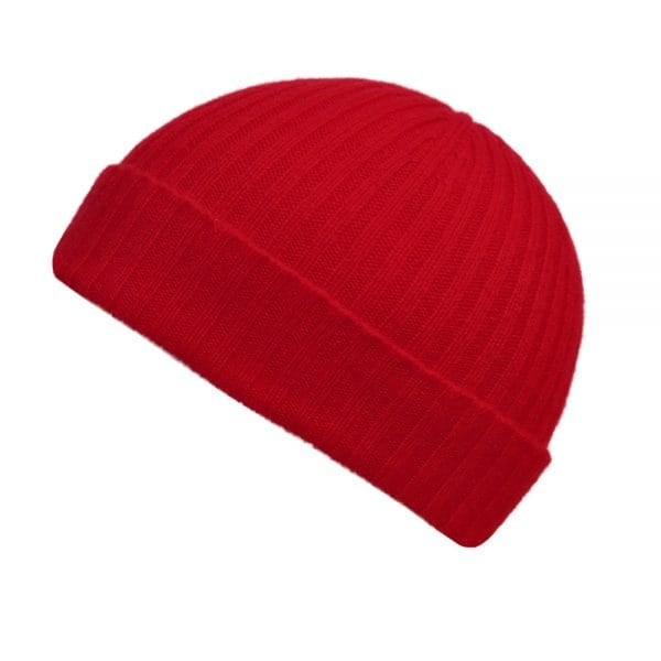 100% cashmere ribbed turn up beanie in red