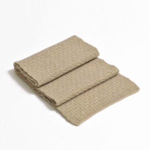 100% cashmere purl stitch scarf in stone