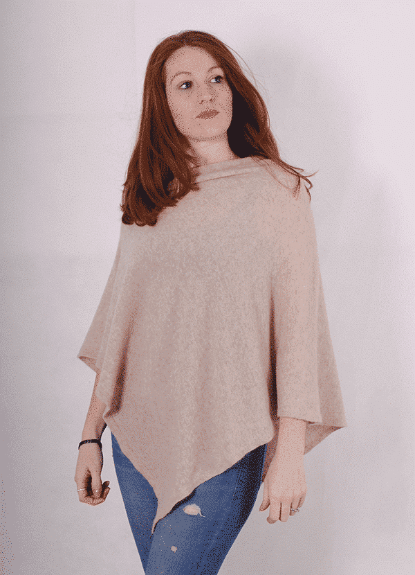 Pink and ginger 100% cashmere stone poncho