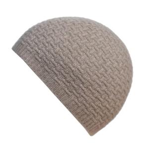 100% cashmere purl stitch beanie in stone