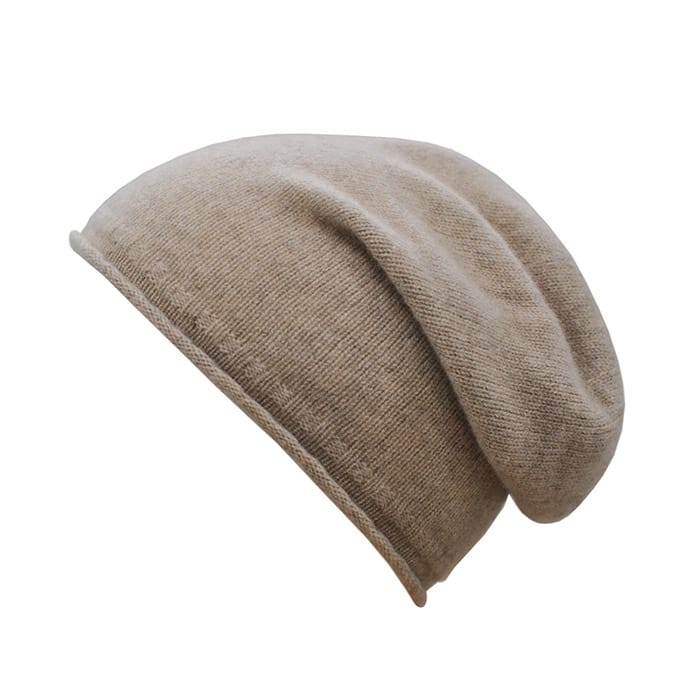 100% cashmere rolled edge slouch beanie in stone