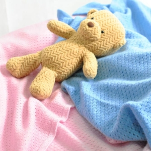 Pink and blue 100% cashmere baby blankets