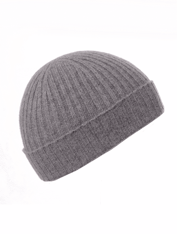 183ad0df550 Children s Grey Ribbed Beanie - Pink and Ginger - 100% Cashmere