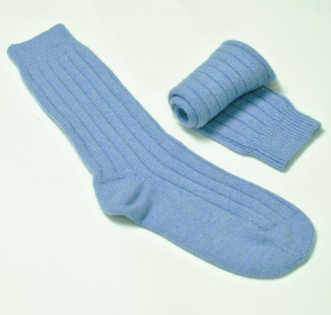 pink and ginger 100% cashmere blue bed socks