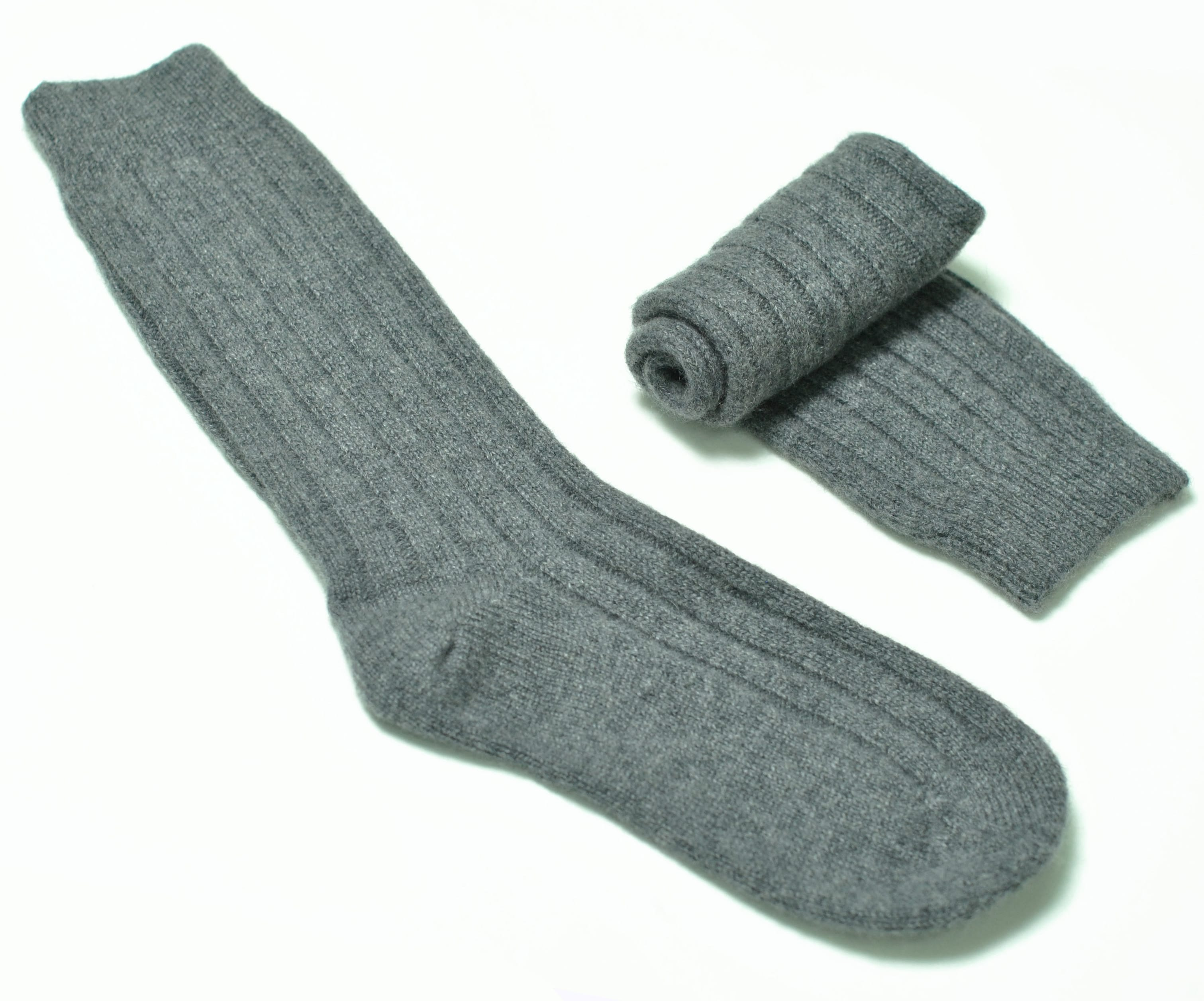 pink and ginger 100% cashmere grey bed socks