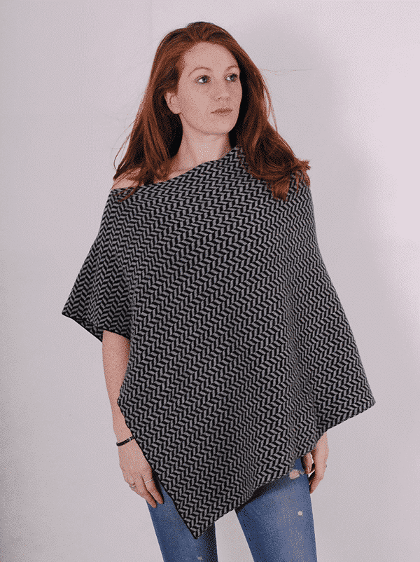 Pink and ginger 100% cashmere black and grey poncho