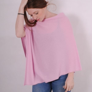 Pink and ginger 100% cashmere pink poncho