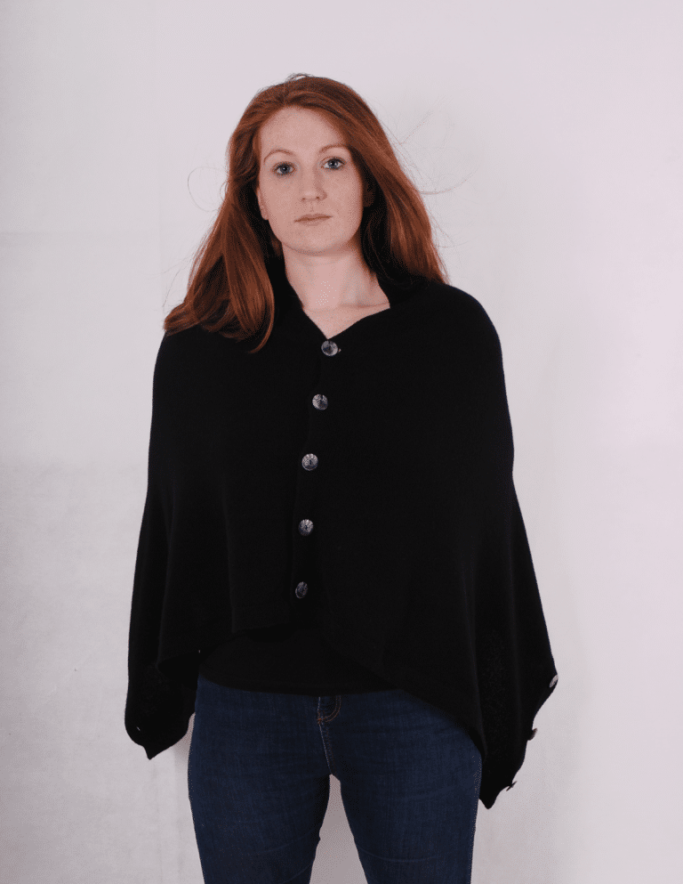 Pink and ginger 100% cashmere black button poncho