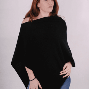 Pink and ginger 100% cashmere black poncho