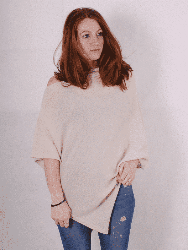 Pink and ginger 100% cashmere winterwhite poncho