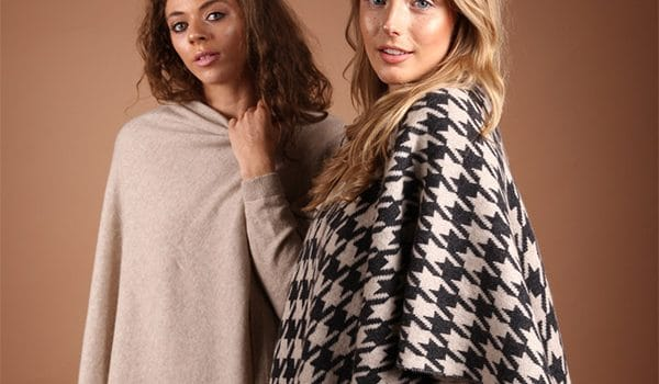 pink and ginger 100% cashmere ponchos