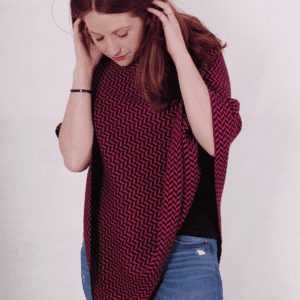 Pink and ginger 100% cashmere black and cerise poncho