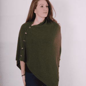 Pink and ginger 100% cashmere khaki poncho