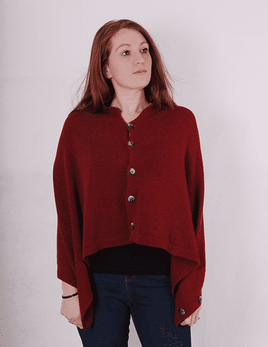 Pink and ginger 100% cashmere wine poncho