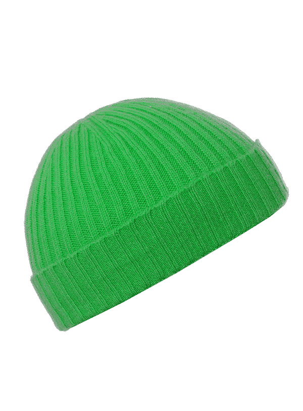 Pink and Ginger 100% cashmere green beanie