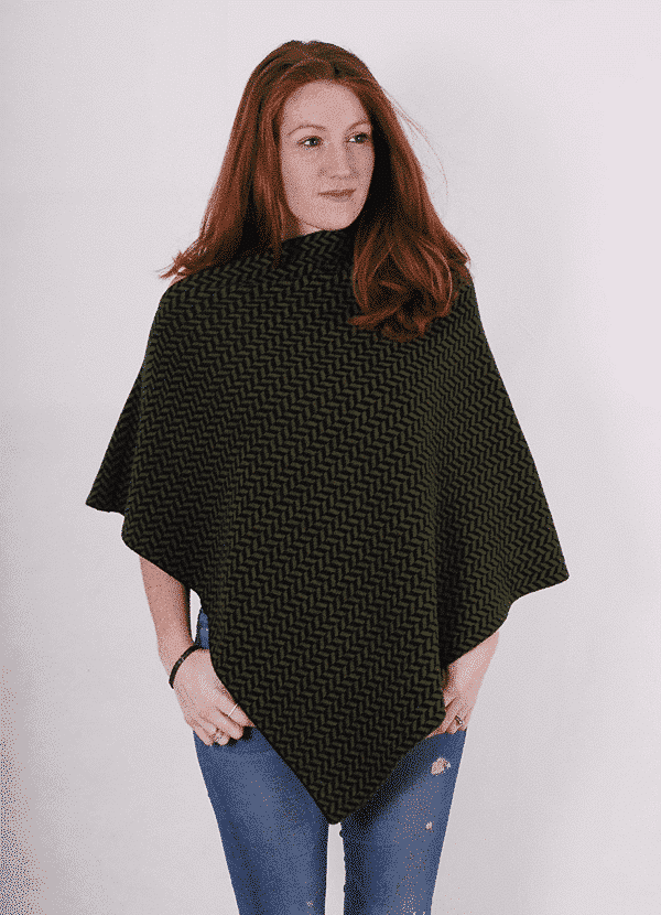 Pink and ginger 100% cashmere black and khaki poncho