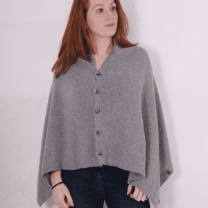 Pink and ginger 100% cashmere grey poncho